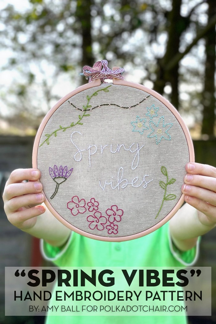 hands holding completed spring vibes embroidery hoop pattern