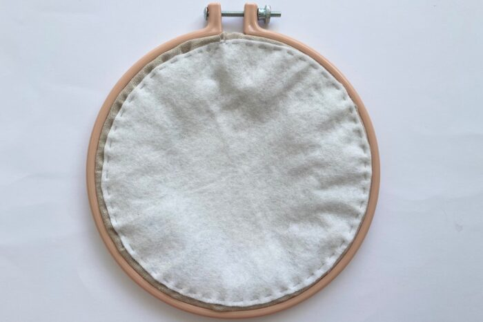 back of embroidery hoop with white felt