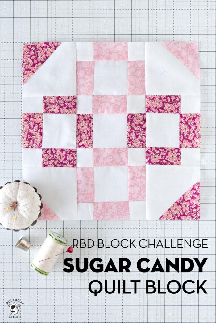 pink quilt block on white cutting mat
