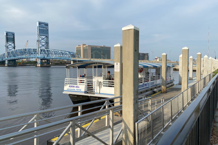 photo of boat parked at dock in Jacksonville downtown.