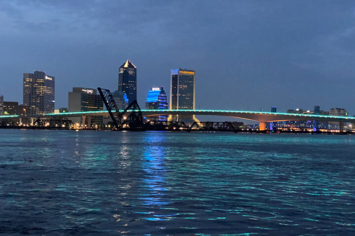 Evening shot of downtown Jacksonville at night.