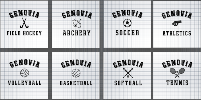screenshot of genovia logos for t shirts