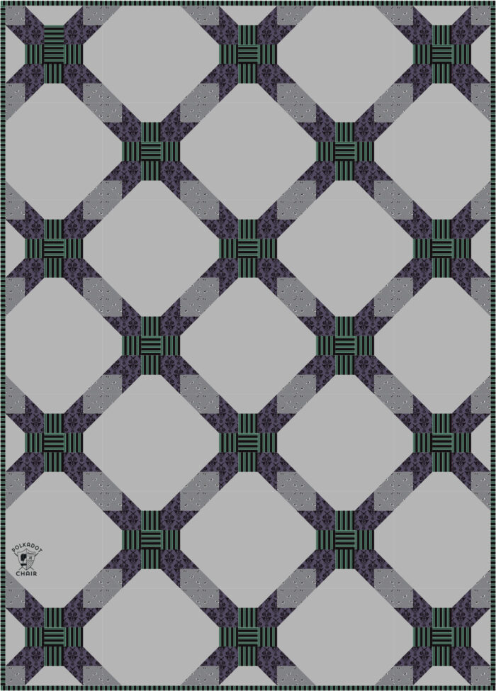 diagram of gray purple and green geometric quilt