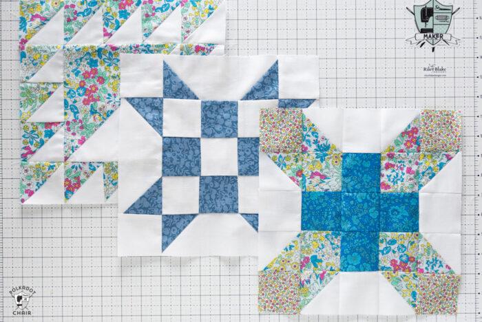 3 quilt blocks on white cutting mat