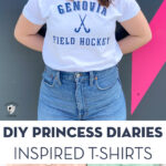 girl in white tee with genovia shirt in front of navy wall