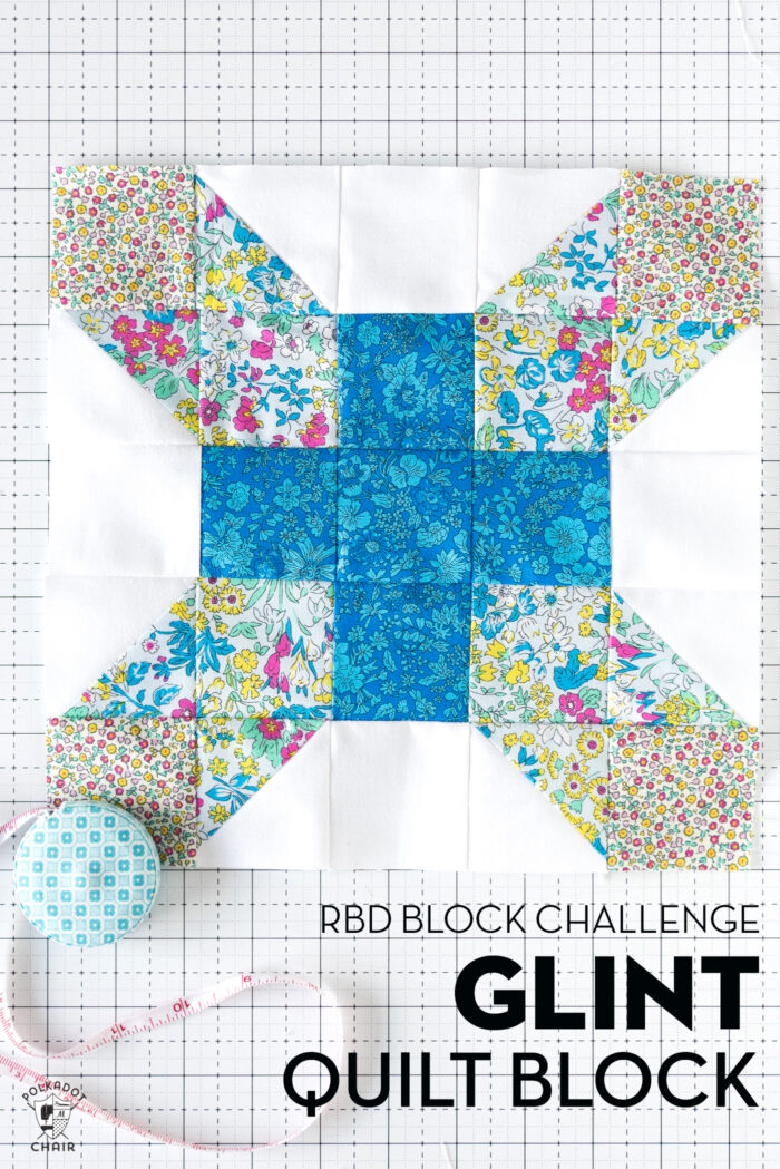 blue and white quilt block on white cutting mat