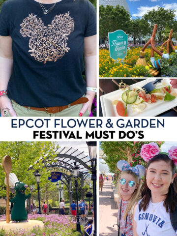 collage image of the epcot flower & garden festival