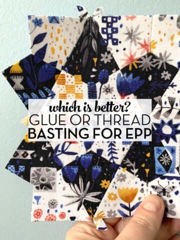 hand holding hand pieced quilt block with text overlay
