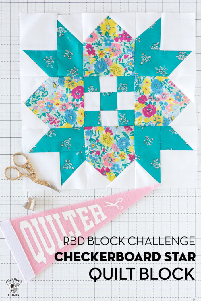 turquoise, white and floral quilt block on white cutting mat