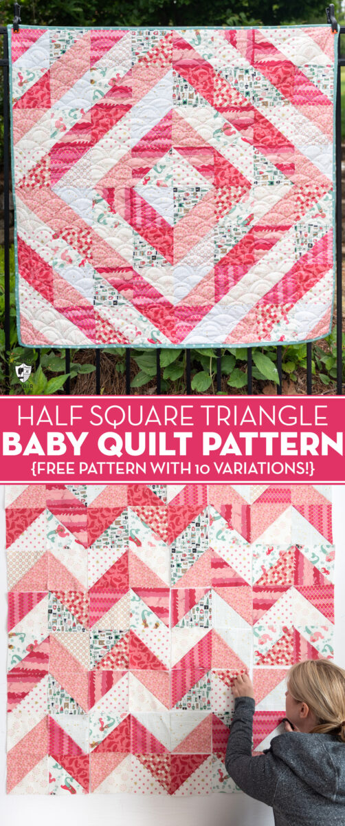 coral and white baby quilt hanging on fence