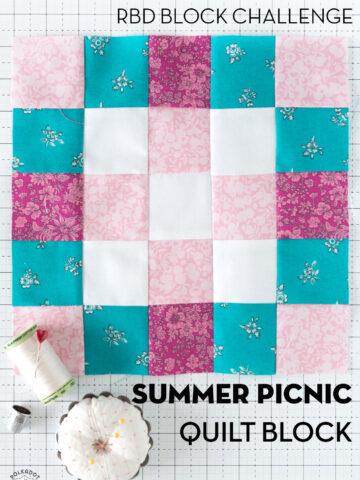 pink, blue and aqua quilt block