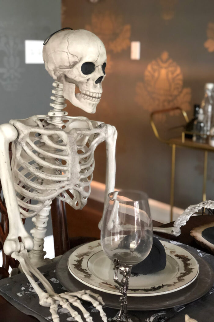 skeleton in dining room