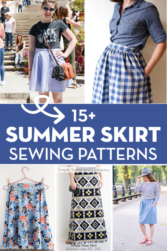 collage image of skirt patterns with text overlay