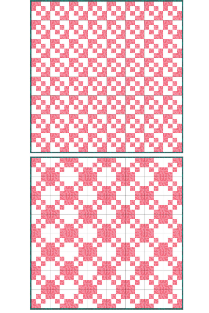 pink and white quilt diagram