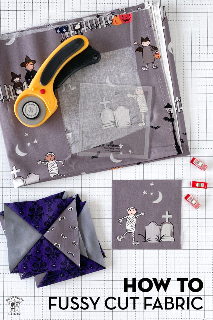 various fabrics and cutting tools on white cutting mat