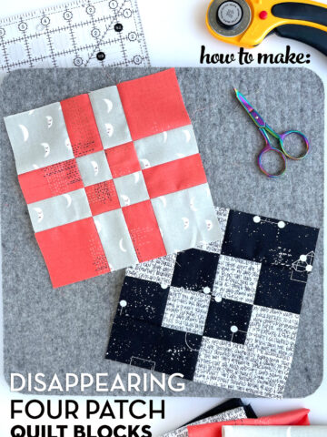 red, black and gray quilt blocks on gray cutting mat