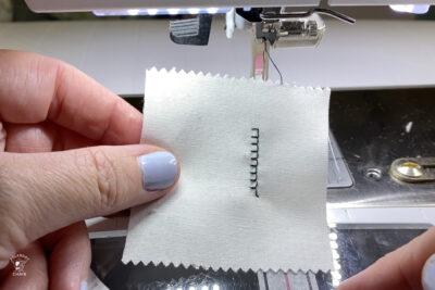 close up of blanket applique stitch