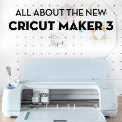 new cricut maker 3 machine on wood table in front of white wall