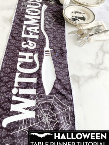 black and white table runner on marble table