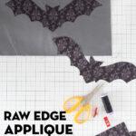 bat fabric shapes, scissors and fabric on cutting mat