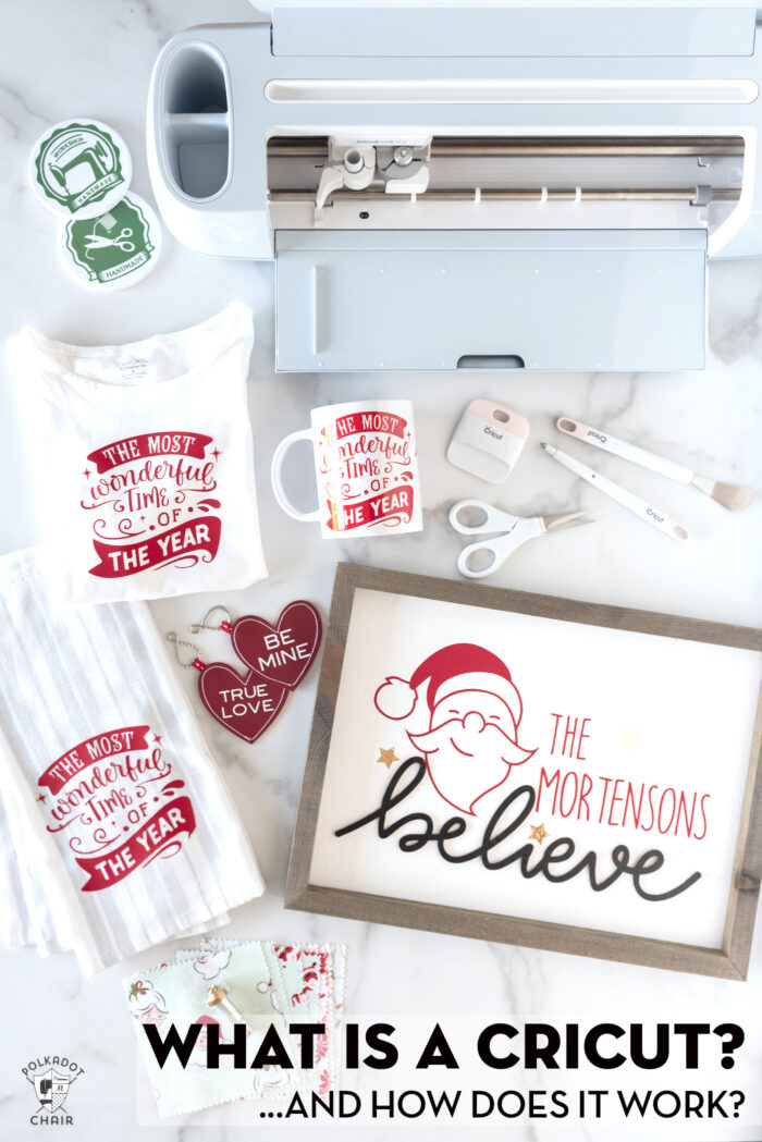 Image of Cricut Maker 3 on white table with various items made with a Cricut including coasters, t-shirts, and dish towels