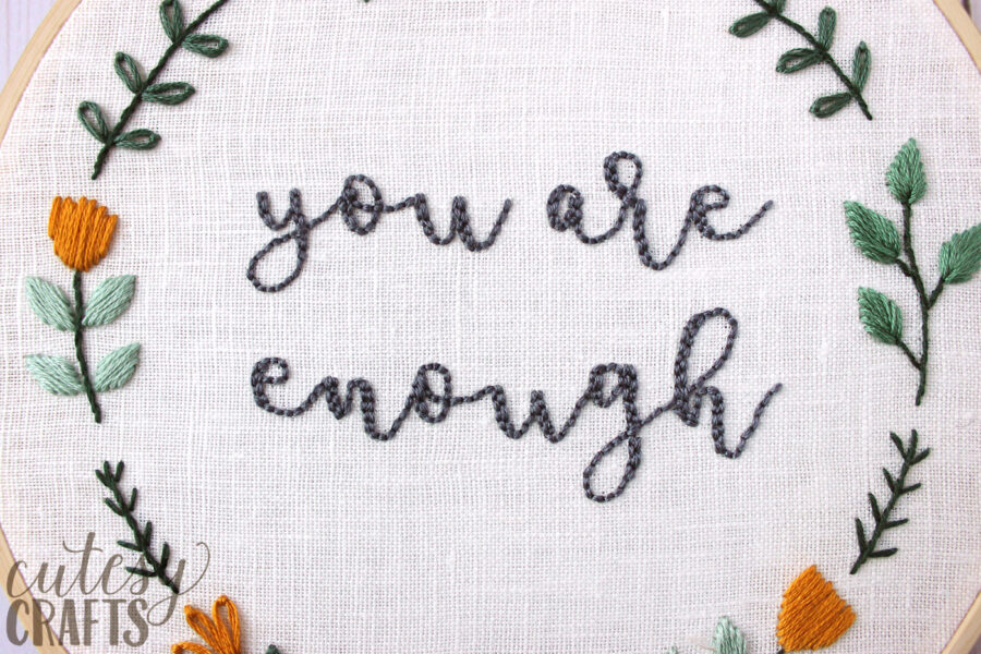 You are Enough Embroidery Pattern